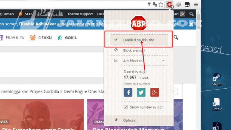 Cara Mematikan Adblock di Situs atau Website Tertentu